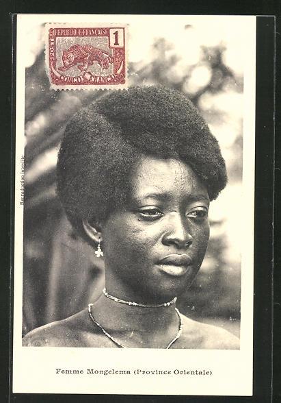 AK afrikanische Volkstypen, Jeune Femme Mongelema (Province Orientale)