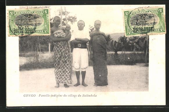 AK Congo, Famille indigène du village du Balimbola, afrikanische Volkstypen