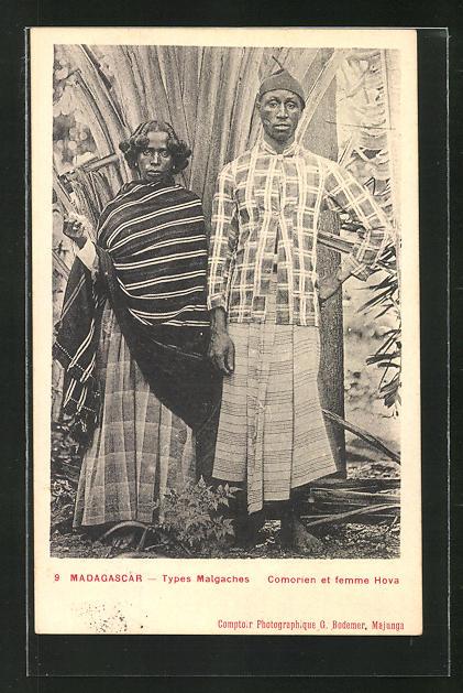 AK Madagascar, Types Malgaches, Comorien et femme Hova, afrikanische Volkstypen