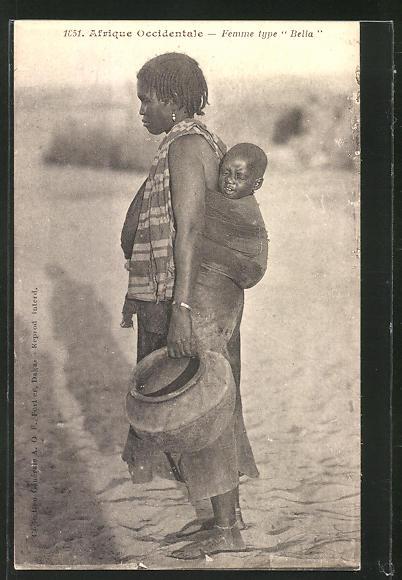 AK Afrique Occidentale, Femme type Bella, afrikanische Volkstypen