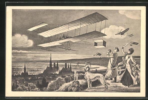 AK Rouen, Semaine d'aviation, Mann und Frau mit Hund und Flugzeug in der Luft