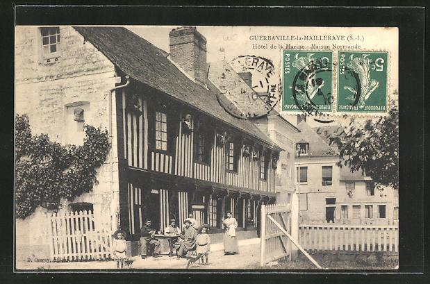 AK Guerbaville-la-Mailleraye, Hotel de la Marine, Maison Normande