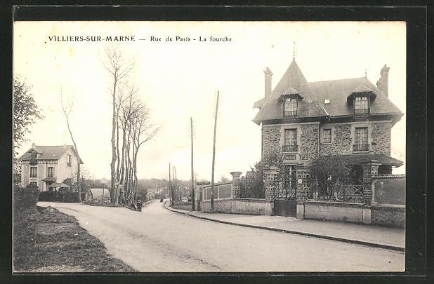 AK Villiers-sur-Marne, Rue de Paris, La fourche