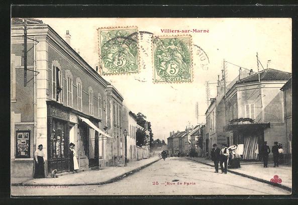 AK Villiers-sur-Marne, Rue de Paris, Strassenpartie