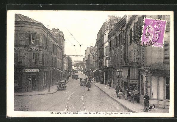 AK Ivry-sur-Seine, Rue de la Mairie (Angle rue Voltaire)
