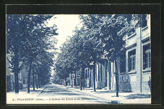 AK Villejuif, L'Avenue des Ecoles et les Ecoles