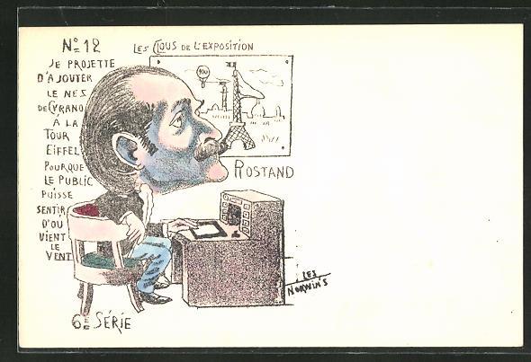 Künstler-AK sign. Les Norwin's: Paris, Exposition universelle de 1900, Rostand, Karikatur