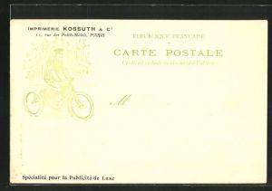 AK Paris, Imprimerie Kossuth & Cie, 11 rue des Petits-Hôtels, Motor-Dreirad