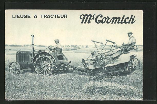 AK Mc Cormick, Lieuse a Tracteur, Traktor mit Mähmaschine