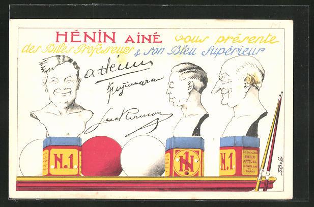 AK Hénin Ainé, Billardkreide, Karikaturen