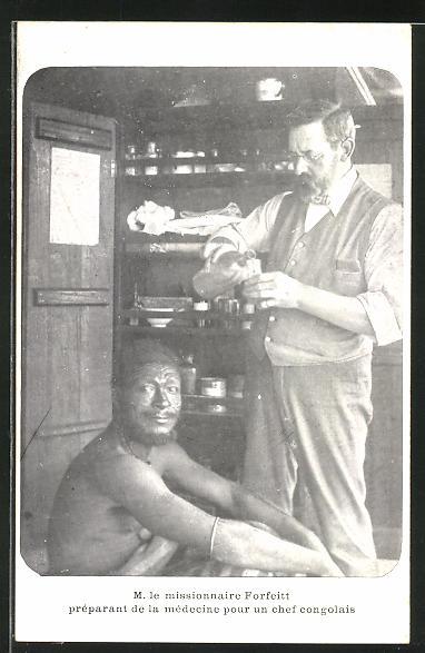 AK M. le missionnaire Forfeitt préparant de la médicine pour un chef congolais, Missionar verabreicht Medizin im Kongo