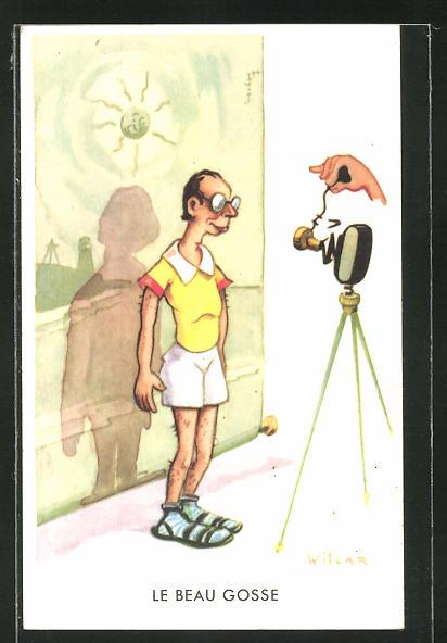 Künstler-AK Wilcar: Le Beau Gosse, Scherz, Fotoapparat