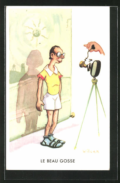 Künstler-AK Wilcar: Le Beau Gosse, Humor, Fotoapparat