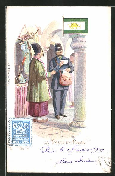 Lithographie La Poste en Perse, Briefträger im Iran