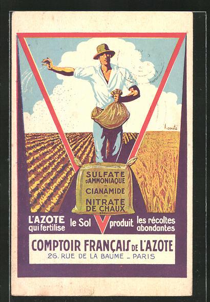 AK Paris, Comptoir Francais de l'Azote, 26 Rue de la Baume, Dünger-Reklame