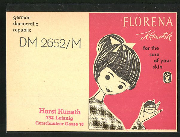 AK Florena Kosmetik for the care of your skin, DDR-Reklame