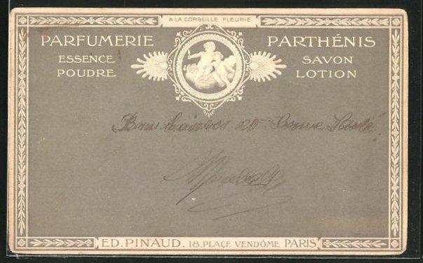 Präge-AK Paris, Parfumerie Parthenis, Ed. Pinaud, 18 Place Vendome