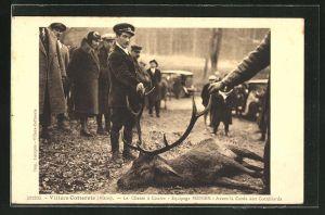 AK Villers-Cotterets, Jäger mit erlegtem Hirsch