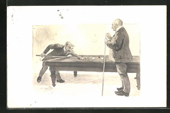 AK Zwei Männer am Billardtisch