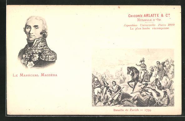 AK Le Marechal Massena, Bataille de Zurich 1799, französische Revolution