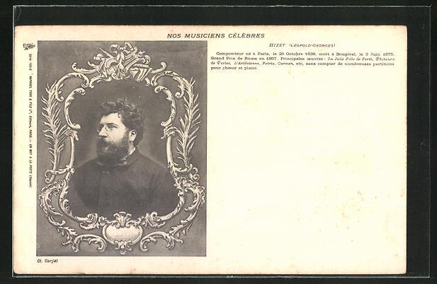 AK Portrait Leopold-Georges Bizet 1838-1875