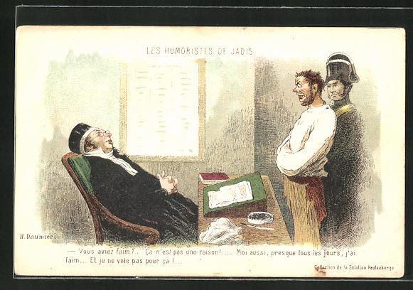 Künstler-AK sign. Daumier: Ein Angeklagter wird vorgeführt