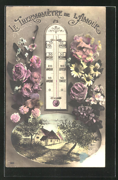 AK Le Thermometre de l'Amour, Liebesthermometer mit Blumen