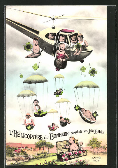 AK L'Helicoptere du Bonheure parachute ses Jolis Bebes, Hubschrauber bringt Babys
