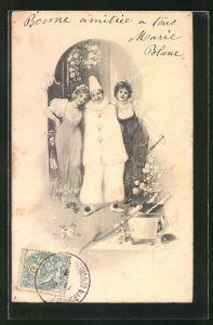 AK Harlekin und zwei junge Damen, Karneval