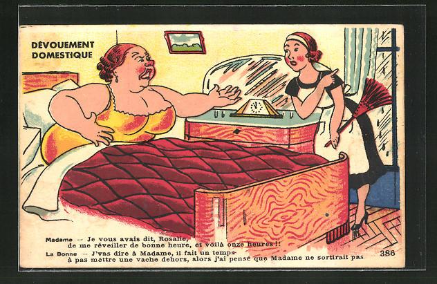 AK Dévouement Domestique, Dicke Dame und Dienstmädchen, Scherz