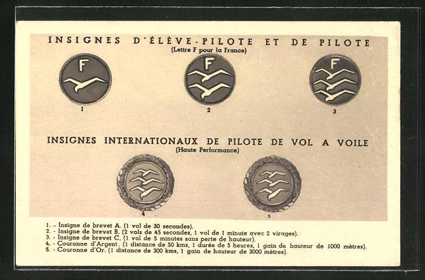 AK Insignes Internationaux de Pilote de Vol a Voile, Abzeichen, Segelflugzeug