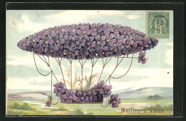 Lithographie Zeppelin als Blumenbild mit Veilchen und Tauben