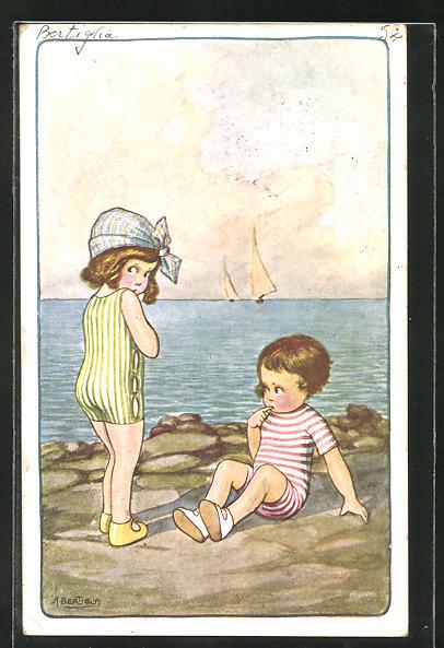 Künstler-AK A. Bertiglia: Kinderpaar im Badeanzug am Meer