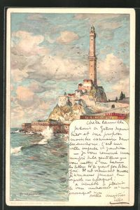 Künstler-AK Manuel Wielandt: Genova, Küste mit Leuchtturm