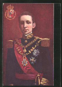 AK Portrait König Alfons XIII. von Spanien in Uniform