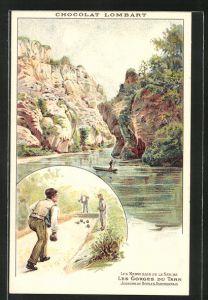 Lithographie Les Merveilles de la Natur, les Gorges du Tarn, Joueurs de Boules, Chocolat Lombart