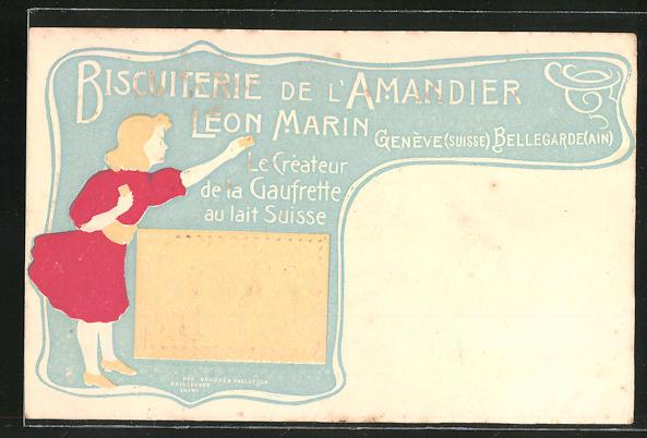 Präge-Lithographie Genève, Biskuiterie de l'Amandier Leon Marin, Keks-Reklame