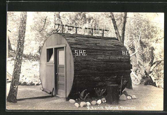 Foto-AK Redwood Terraces, Restroom, Toilettehäuschen aus Baumstamm