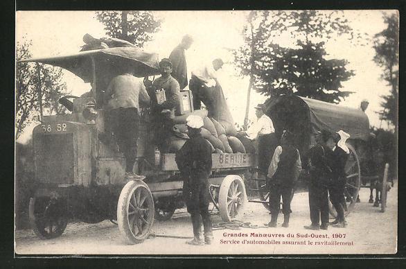 AK Grandes Manouevres du Sud-Ouest 1907, Lastkraftwagen mit Verpflegung