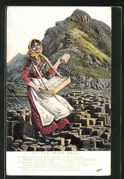 AK Little Irish Nell, irische Händlerin mit Bauchladen