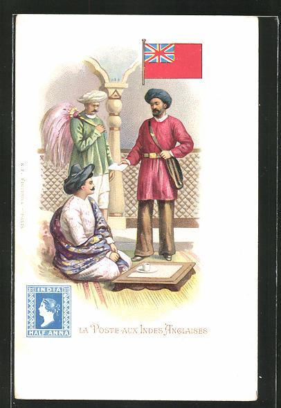 Lithographie La Poste aux Indes-Anglaises, Briefträger in Indien