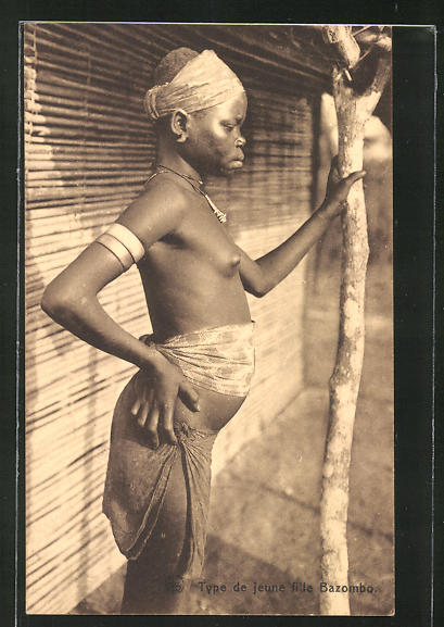 AK Type de jeune fille Bazombo, afrikanische nackte Frau