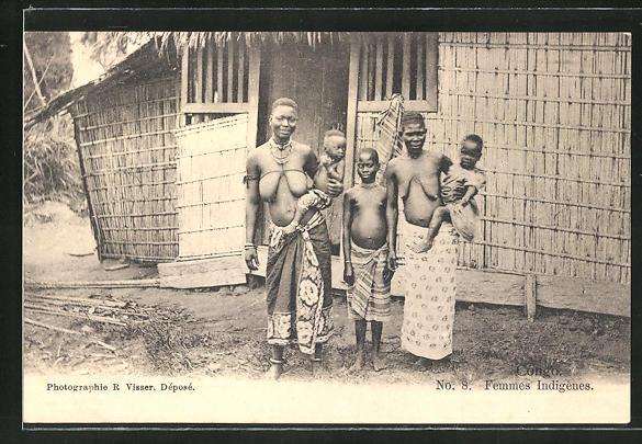 AK Congo, Femmes Indigenes, afrikanische nackte Frauen