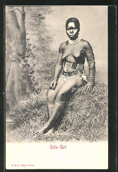 AK Zulu Girl, afrikanische nackte Frau