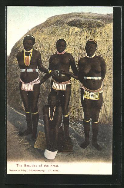 AK The Beauties of the Kraal, afrikanische nackte Frauen