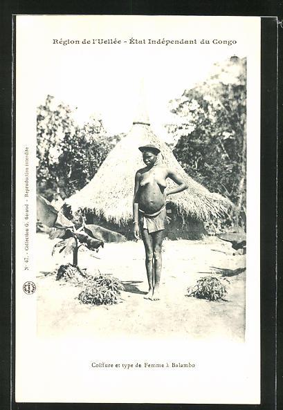 AK Congo, Coiffure et type de Femme à Balambo, afrikanische nackte Frau vor einer Strohhütte