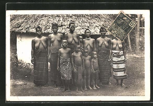AK Elfenbeinküste, Femmes Guerret, afrikanische nackte Frauen mit Kindern