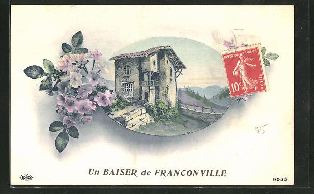 AK Franconville, Ortspartie mit Gebäudeansicht und Blumen
