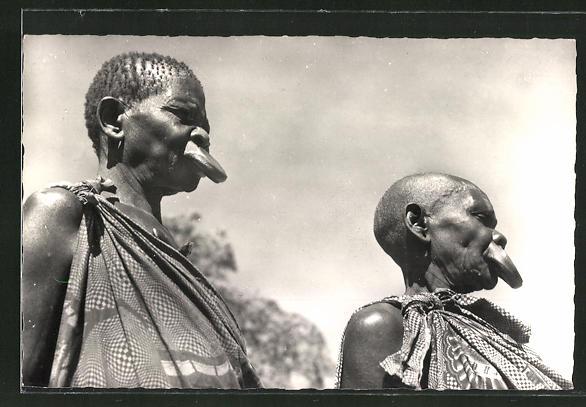 AK Congo Belge, Femmes a plateaux, afrikanische Frauen mit Tellerlippen