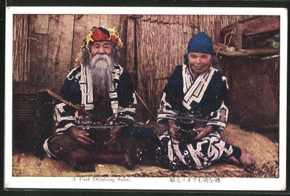 AK Ainu, japanische Ureinwohner trinken Sake